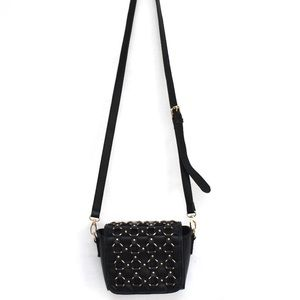 Black Gold Chain Detail Crossbody Faux Leather